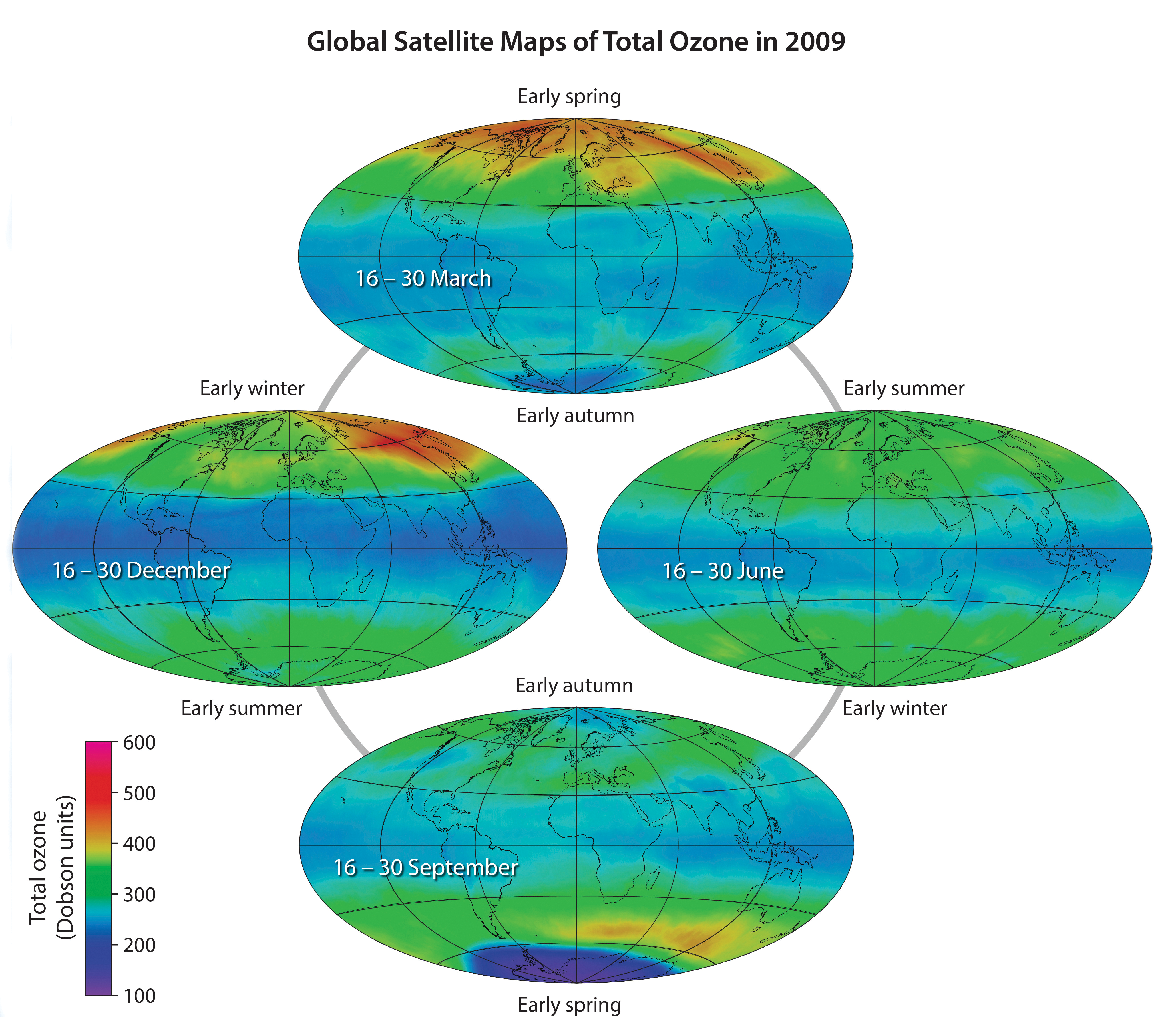 Global Satellite Maps of Total Ozone in 2009