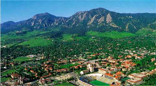 View of Boulder, including the University of Colorado and the ...