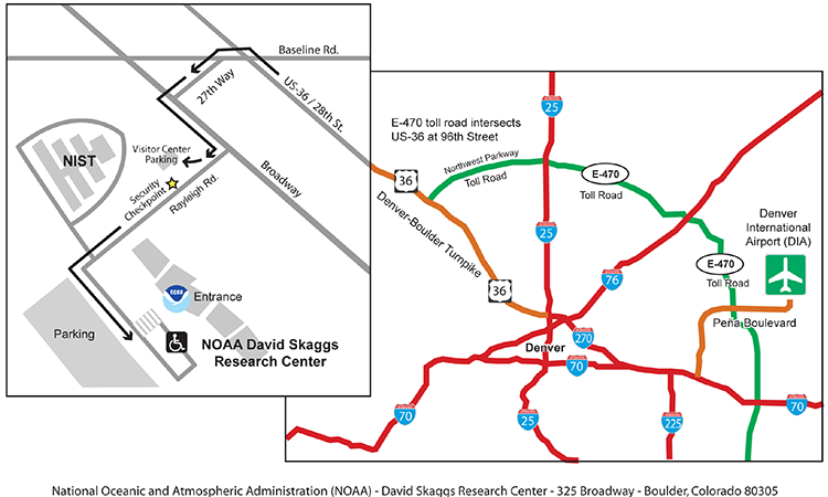 map of driving route from DIA to Boulder and NOAA
